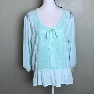 Self Esteem NWT Mint Lace Blouse Top Size 2X